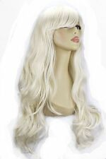 "22"" Ladies Full WIG Long Hair Piece LOOSE WAVES Platinum Blonde #16/60"