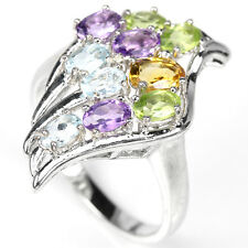Natural TOPAZ AMETHYST CITRINE PERIDO 925 STERLING SILVER RING S9.25 ChunKY BoLD