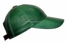 BASEBALL Leaf Green Men's Ladies Real Soft Nappa Leather Hip-Hop Cap Hat