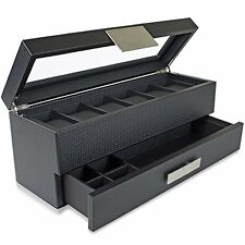 Watch Box with Valet Drawer for Men 6 Slot Luxury Case Display Carbon Fiber