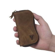 Men Genuine Cow Leather Vintage Zipper Wallet Purse Keychain Key Case Holder
