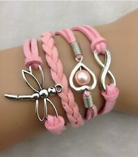 NEW Fashion Jewelry Pink  dragonfly Heart Tibet silver Leather Bracelet SYX09