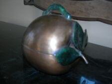 Maitland Smith Antique Brass Round Apple Box With Leaf