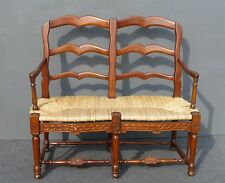 French Country Cottage Style Carved Wood Rush Seat BENCH