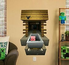 Minecraft Vinyl Wall Sticker 3D decal home decor Tunnel pig Bedroom Wallpaper