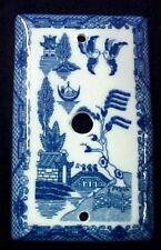 Blue Willow China Cable Switch Cover Pattern Porcelain Oriental TV Wire New