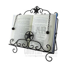 Rustic Western Star Book Easel Cookbook Holder Stand - Metal, Dark Brown