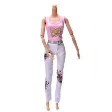 2 Pcs Pink Vest Suit for Barbie Dolls Fashion White Pants Printed Doll Cloths
