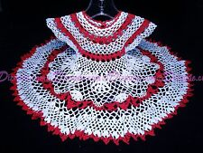 Handmade USA RED & WHITE Crochet Baby Dress Christmas Shower Baptism 100% Cotton