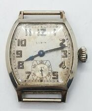 Vintage 14k White Gold Filled Art Deco Elgin Mens Wrist Watch