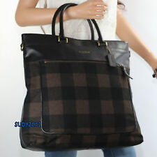 NWT Men's Coach Essex Wool Plaid Tote Business Travel Messenger Bag F71441 NEW