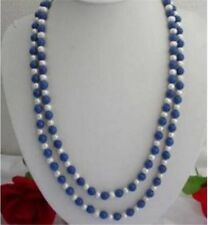 """Natural 8mm Egyptian Blue Lapis Lazuli & Real White Pearl Necklace 30"""" Strand SF"""