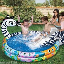 Banzai Spray n Splash Zebra Inflatable Swimming Pool with Sprinkler and Slide