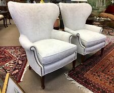 Pair of Danish Large Wing Back Chairs Crewel Nailhead Wingback