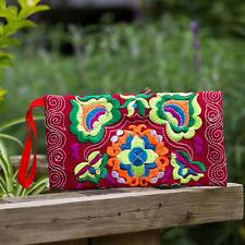 Women gift Ethnic Handmade Embroidered Wristlet Clutch Bag Vintage Purse Wallet