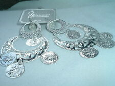 LARGE GYPSY HOOP EARRINGS WITH FRENCH COINS AND PIERCED WIRES IN BOX