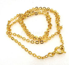 "Women Unisex New 24K Yellow Gold Plated 17.5"" 45cm 2mm small Part Chain Necklace"