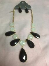 "FABULOUS -EARING&NECKLACE SET- 22"" L , BLACK & WHITE PEARLIKE STONES IN 18K G.P."