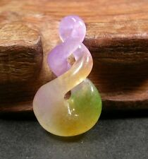 CHINESE Green Yellow Lavender JADE PENDANT Circle *8* Knotted Knotte 236554