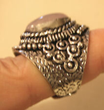 Handsome Highly Sculpt Rope Rim Pink Marbled Natural Stone Finger Ring Size 7.5