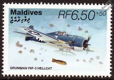 Grumman F6F-3 HELLCAT WWII Carrier-Based Fighter Aircraft Stamp (1995 Maldives)