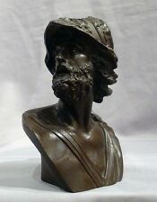 Beautiful Antique Patiated Bronze Bust of Ajax, grand Tour