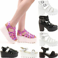 LADIES WOMENS CUT OUT BOOTS CHUNKY HIGH HEEL CLEATED SOLE PLATFORM SHOES SIZE