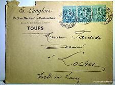 Sage  sur lettre oblitération  TOURS GARE  LOCHES     - 1891  201ca132