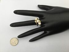 Vintage J&J 14k 6mm Akoya Tripple Pearl Ring, Size 6, Beautiful!