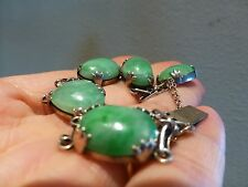 Antique Chinese export sterling silver green A jadeite jade carved bracelet link