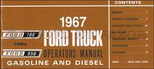 1967 Ford F100 F250 F350 Truck Owners Manual Pickup Custom Styleside Flareside