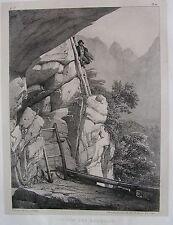 1828 CHEMIN DES ECHELLES Albinen Leuk Wallis Valais litografia Villeneuve Suisse