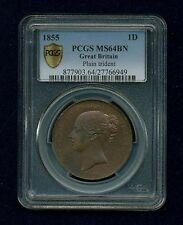 GREAT BRITAIN VICTORIA 1855 PENNY, CHOICE UNCIRCULATED, CERTIFIED PCGS MS64-BN