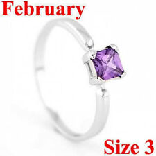 STERLING SILVER FEBRUARY BIRTHSTONE CZ CHILD RING SZ 3