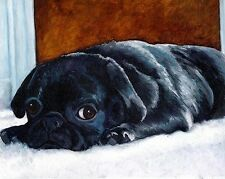 8x10 Black PUG Puppy Dog Art PRINT of Original Oil Painting Artwork by VERN