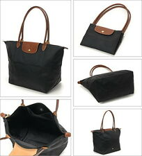 LongChamp pliage folding Long  handle tote bag Black (L)