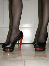 Sexy Plateau Kunst Leder High-Heels Rot-Schwarz 37 Stiletto Absatz 13 cm