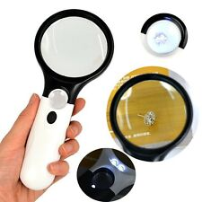Racket Shape Hand Held Magnifying Glass Reading Loupe with Compass