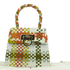 Auth Salvatore Ferragamo Logos Gancini Hand Bag Leather Multi-Color Italy 52W198