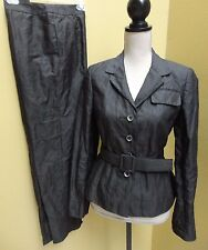 Carlisle Metallic Crushed Cotton Pant Suit Black Size 4 NWOT
