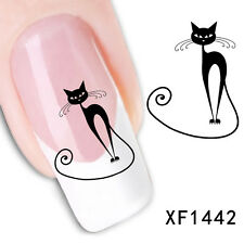 New Black Cat Halloween Nail Art Water Transfer Slide Decals Sticker Tips XF1442