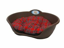 Extra Large Plastic BROWN Dog Pet Bed With RED TARTAN Dog Cat Basket