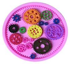 Gear assortment 17 cav silicone mold for Fondant, Gum Paste, Chocolate, Crafts