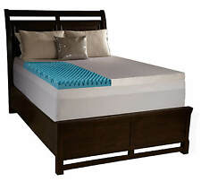 """4"""" King Egg Crate Foam Mattress Topper Gel Infused Memory Bed Pad With Cover"""