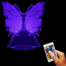 Ornate Turn ! Butterfly 3D USB Color Changing LED Lamp with Remote Controller