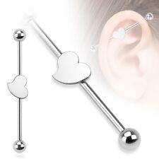 HEART Stainless STEEL Industrial Bar Scaffold Ear Barbell Rings PIERCING JEWELRY