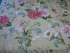 3 Yards Quilt Cotton Fabric - Hoffman Fairy Briar Fairies and Flowers Cream Met
