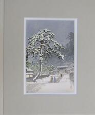 "Matted Print Kawase Hasui Japan Honmonji Templein Snows 8 x 10"" Sealed Gray Mat"