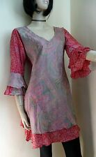Kaftan Tunic Top Size 12  Floral Ethnic Hippy Kurta Sari Long Tunic Boho Indian