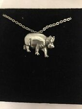 Hippopotamus R118 English Pewter on a Silver Platinum Plated Necklace 18""